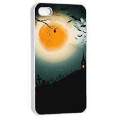 Halloween Landscape Apple Iphone 4/4s Seamless Case (white) by Valentinaart