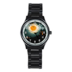 Halloween Landscape Stainless Steel Round Watch by Valentinaart