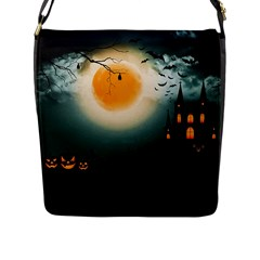 Halloween Landscape Flap Messenger Bag (l)  by Valentinaart