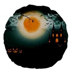 Halloween Landscape Large 18  Premium Flano Round Cushions by Valentinaart
