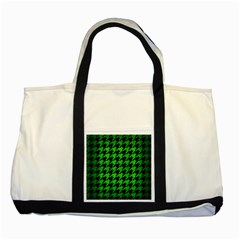 Houndstooth1 Black Marble & Green Brushed Metal Two Tone Tote Bag by trendistuff