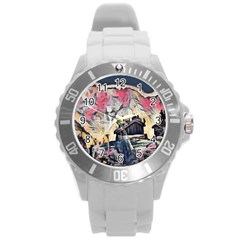Modern Abstract Painting Round Plastic Sport Watch (l) by 8fugoso