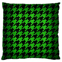 Houndstooth1 Black Marble & Green Brushed Metal Large Flano Cushion Case (one Side) by trendistuff
