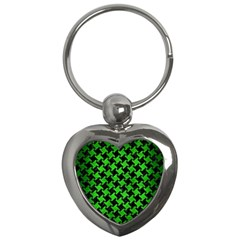 Houndstooth2 Black Marble & Green Brushed Metal Key Chains (heart)  by trendistuff