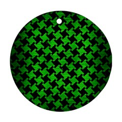 Houndstooth2 Black Marble & Green Brushed Metal Round Ornament (two Sides) by trendistuff