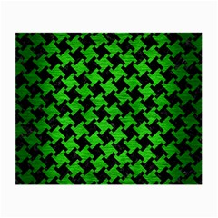 Houndstooth2 Black Marble & Green Brushed Metal Small Glasses Cloth (2 Side) by trendistuff