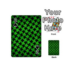 Houndstooth2 Black Marble & Green Brushed Metal Playing Cards 54 (mini)  by trendistuff