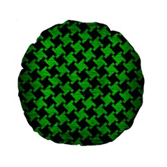 Houndstooth2 Black Marble & Green Brushed Metal Standard 15  Premium Round Cushions by trendistuff