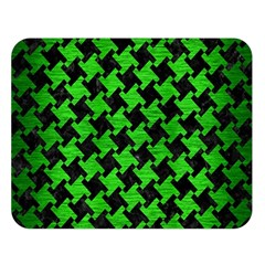 Houndstooth2 Black Marble & Green Brushed Metal Double Sided Flano Blanket (large)  by trendistuff