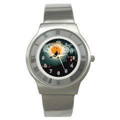 Halloween Landscape Stainless Steel Watch by Valentinaart