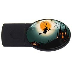 Halloween Landscape Usb Flash Drive Oval (4 Gb) by Valentinaart