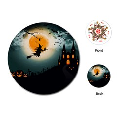 Halloween Landscape Playing Cards (round)  by Valentinaart