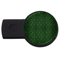 Hexagon1 Black Marble & Green Brushed Metal Usb Flash Drive Round (4 Gb) by trendistuff
