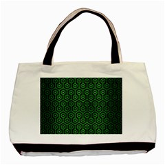 Hexagon1 Black Marble & Green Brushed Metal Basic Tote Bag by trendistuff