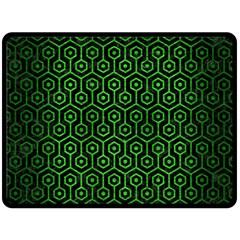 Hexagon1 Black Marble & Green Brushed Metal Double Sided Fleece Blanket (large)  by trendistuff