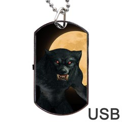 Werewolf Dog Tag Usb Flash (one Side) by Valentinaart
