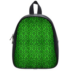 Hexagon1 Black Marble & Green Brushed Metal (r) School Bag (small) by trendistuff