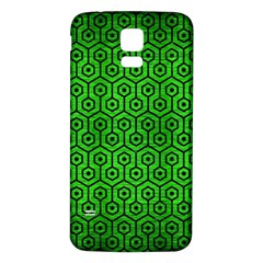 Hexagon1 Black Marble & Green Brushed Metal (r) Samsung Galaxy S5 Back Case (white) by trendistuff