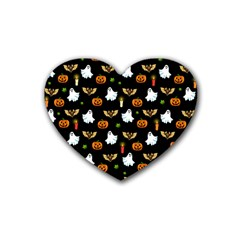 Halloween Pattern Rubber Coaster (heart)  by Valentinaart