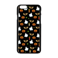 Halloween Pattern Apple Iphone 6/6s Black Enamel Case by Valentinaart