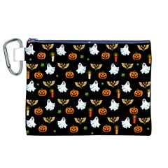Halloween Pattern Canvas Cosmetic Bag (xl) by Valentinaart