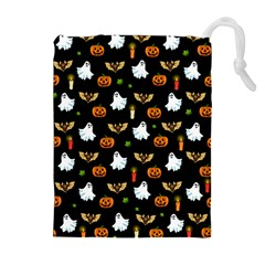 Halloween Pattern Drawstring Pouches (extra Large) by Valentinaart