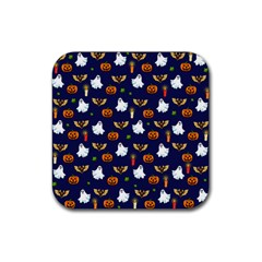 Halloween Pattern Rubber Square Coaster (4 Pack)  by Valentinaart