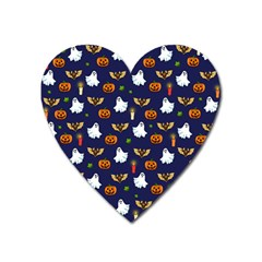 Halloween Pattern Heart Magnet by Valentinaart