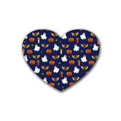 Halloween Pattern Rubber Coaster (heart)  by Valentinaart