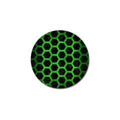 Hexagon2 Black Marble & Green Brushed Metal Golf Ball Marker (4 Pack)