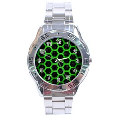 Hexagon2 Black Marble & Green Brushed Metal Stainless Steel Analogue Watch by trendistuff