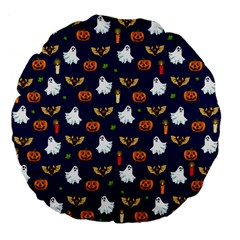 Halloween Pattern Large 18  Premium Flano Round Cushions by Valentinaart