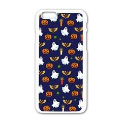 Halloween Pattern Apple Iphone 6/6s White Enamel Case by Valentinaart