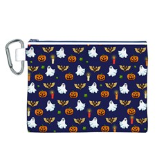 Halloween Pattern Canvas Cosmetic Bag (l) by Valentinaart