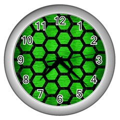 Hexagon2 Black Marble & Green Brushed Metal (r) Wall Clocks (silver)  by trendistuff