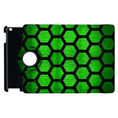 Hexagon2 Black Marble & Green Brushed Metal (r) Apple Ipad 2 Flip 360 Case by trendistuff