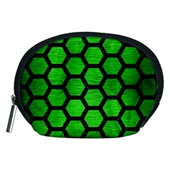 Hexagon2 Black Marble & Green Brushed Metal (r) Accessory Pouches (medium)  by trendistuff