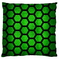 Hexagon2 Black Marble & Green Brushed Metal (r) Standard Flano Cushion Case (one Side) by trendistuff
