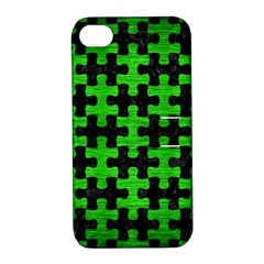 Puzzle1 Black Marble & Green Brushed Metal Apple Iphone 4/4s Hardshell Case With Stand by trendistuff