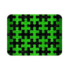 Puzzle1 Black Marble & Green Brushed Metal Double Sided Flano Blanket (mini)  by trendistuff