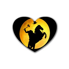 Headless Horseman Rubber Coaster (heart)  by Valentinaart