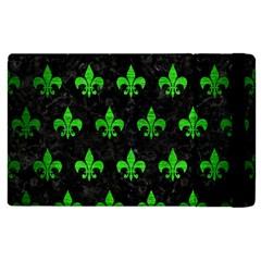 Royal1 Black Marble & Green Brushed Metal (r) Apple Ipad 2 Flip Case by trendistuff