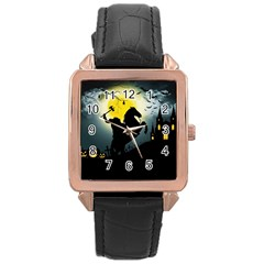 Headless Horseman Rose Gold Leather Watch  by Valentinaart