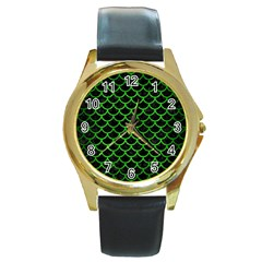 Scales1 Black Marble & Green Brushed Metal Round Gold Metal Watch