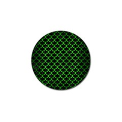 Scales1 Black Marble & Green Brushed Metal Golf Ball Marker (4 Pack)