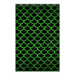 Scales1 Black Marble & Green Brushed Metal Shower Curtain 48  X 72  (small)  by trendistuff