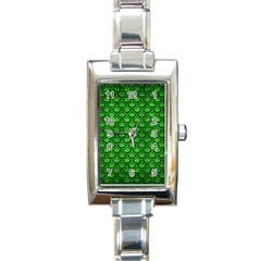 Scales2 Black Marble & Green Brushed Metal (r) Rectangle Italian Charm Watch