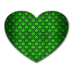 Scales2 Black Marble & Green Brushed Metal (r) Heart Mousepads by trendistuff