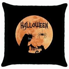 Halloween Throw Pillow Case (black) by Valentinaart