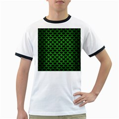 Scales3 Black Marble & Green Brushed Metal Ringer T Shirts